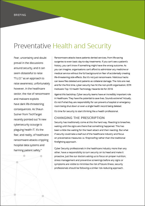Briefing: Preventative Health and Security