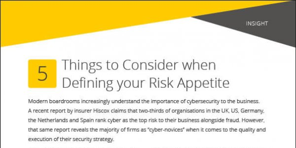 Insight: 5 Things To Consider When Defining Your Risk Appetite