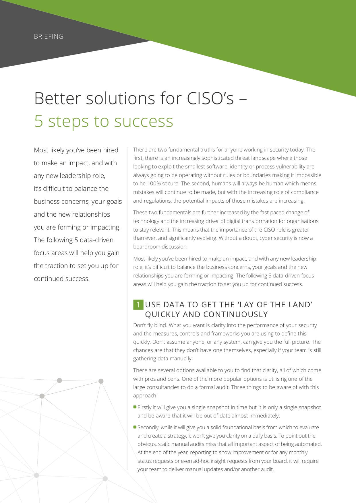 Briefing: Better solutions for CISOs – 5 steps to success