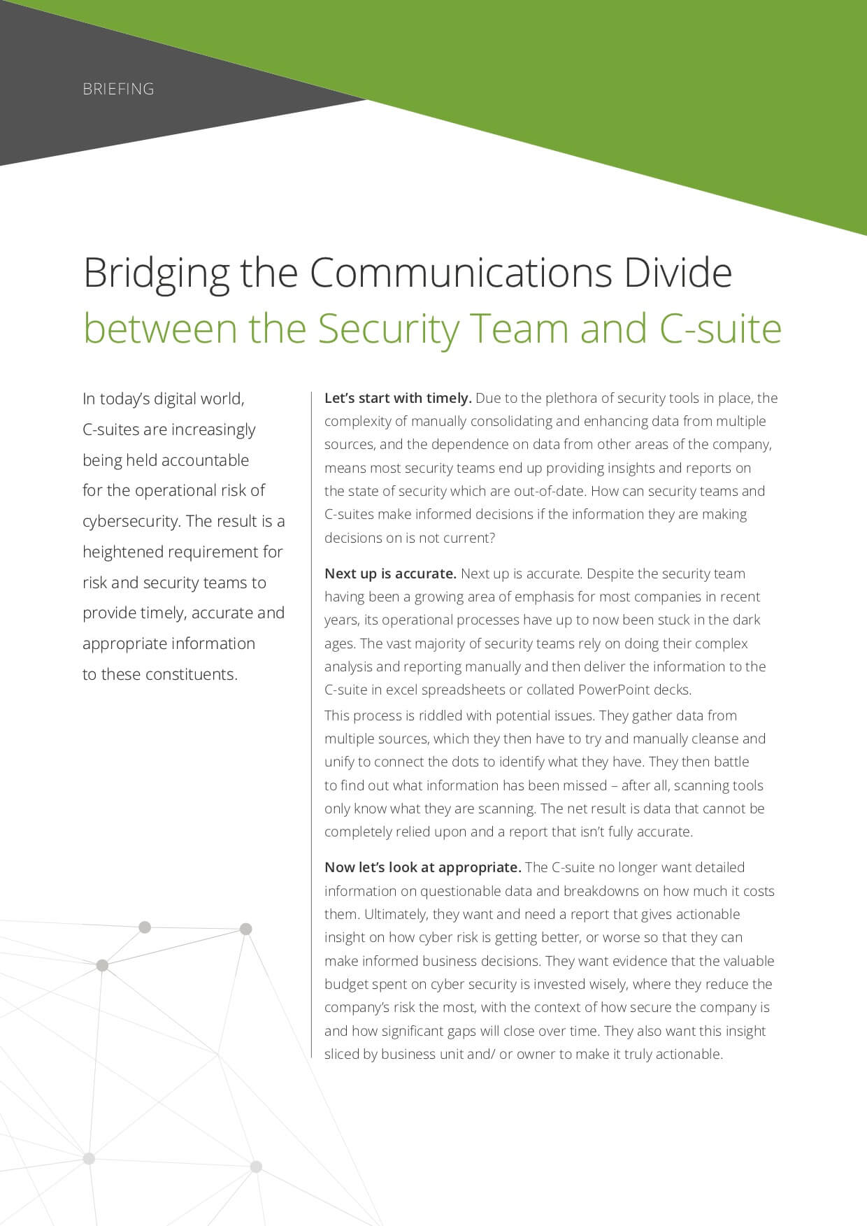 Briefing: Bridging the Comms Divide between the Security Team and C-suite
