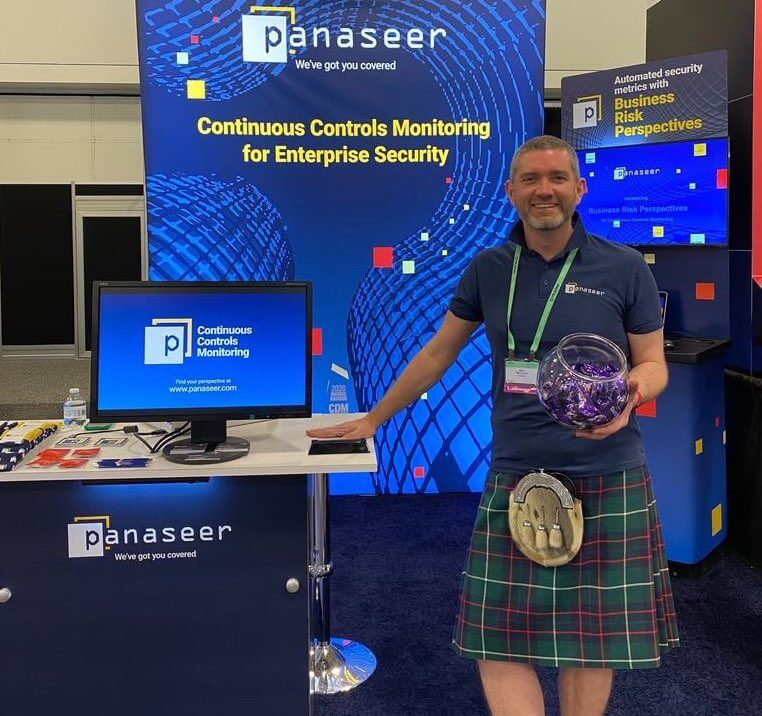 mike macintyre at Panaseer's RSA booth wearing a kilt